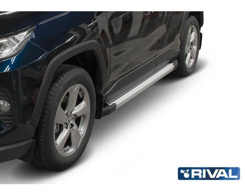 "Пороги алюминиевые Rival ""Silver"" для Toyota Rav 4 2019-"