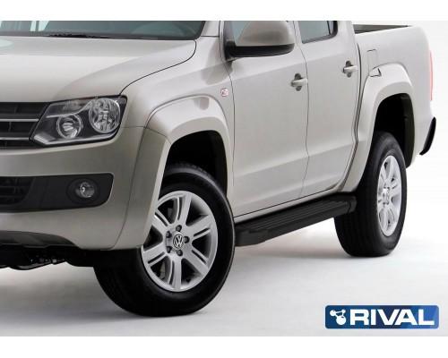 """Пороги алюминиевые Rival """"Black"""" для Volkswagen Amarok 2010-2016"""