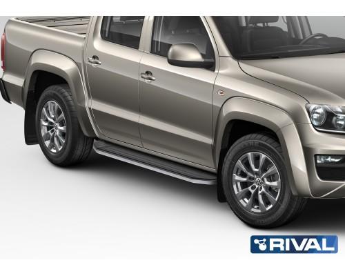"""Пороги алюминиевые Rival """"Premium"""" для Volkswagen Amarok 2010-2016"""