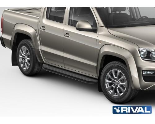 "Пороги алюминиевые Rival ""Premium-Black"" для Volkswagen Amarok 2010-2016"