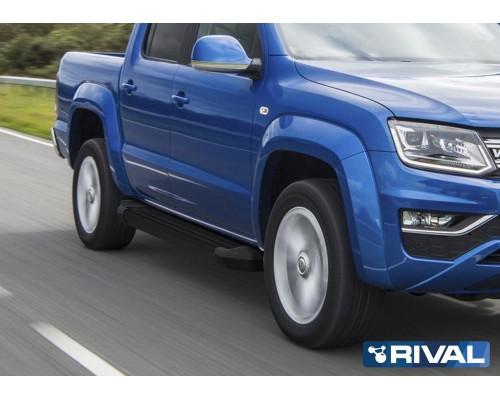 """Пороги алюминиевые Rival """"Black"""" для Volkswagen Amarok 2016-"""