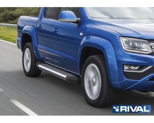 "Пороги алюминиевые Rival ""Bmw-Style"" для Volkswagen Amarok 2016-"
