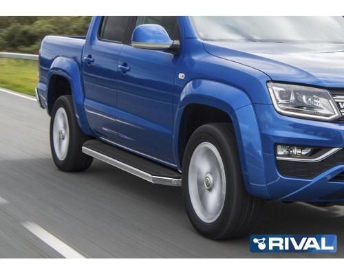 """Пороги алюминиевые Rival """"Premium"""" для Volkswagen Amarok 2016-"""