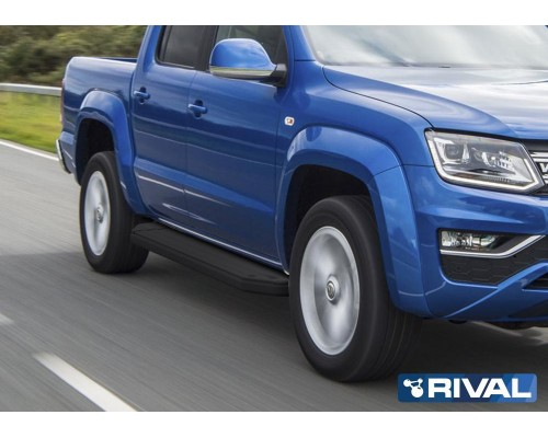 "Пороги алюминиевые Rival ""Premium-Black"" для Volkswagen Amarok 2016-"