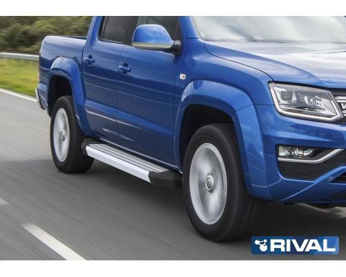 "Пороги алюминиевые Rival ""Silver"" для Volkswagen Amarok 2016-"