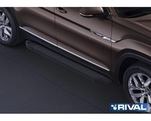 "Пороги алюминиевые Rival ""Black"" для Volkswagen Teramont 2018-"