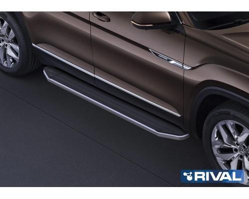 "Пороги алюминиевые Rival ""Premium"" для Volkswagen Teramont 2018-"