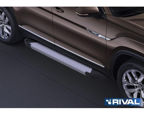 "Пороги алюминиевые Rival ""Silver"" для Volkswagen Teramont 2018-"
