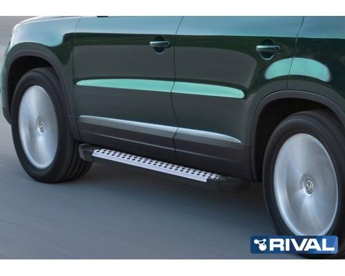 "Пороги алюминиевые Rival ""Bmw-Style"" для Volkswagen Tiguan 2007-2017"