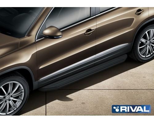 """Пороги алюминиевые Rival """"Premium-Black"""" для Volkswagen Tiguan 2007-2017"""