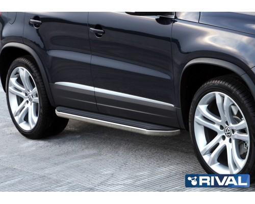 """Пороги алюминиевые Rival """"Premium"""" для Volkswagen Tiguan 2007-2017"""