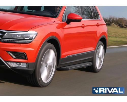 """Пороги алюминиевые Rival """"Premium-Black"""" для Volkswagen Tiguan 2017-"""