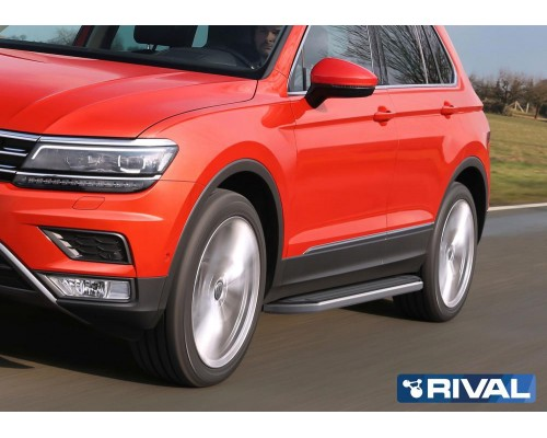 """Пороги алюминиевые Rival """"Premium"""" для Volkswagen Tiguan 2017-"""
