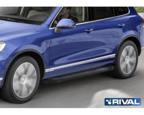 """Пороги алюминиевые Rival """"Black"""" для Volkswagen Touareg 2010-2018"""