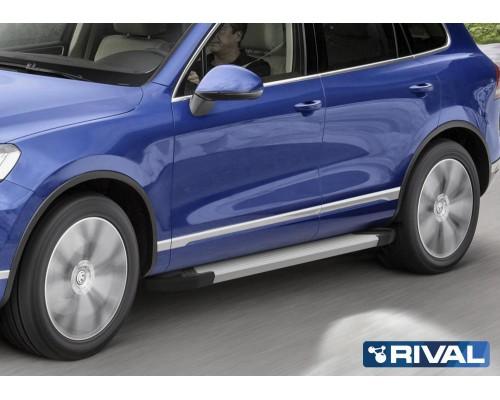 """Пороги алюминиевые Rival """"Silver"""" для Volkswagen Touareg 2010-2018"""