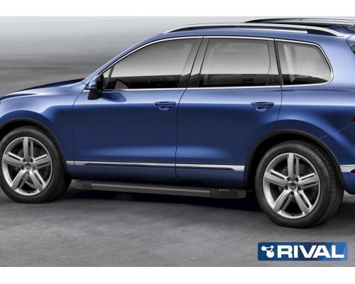 """Пороги алюминиевые Rival """"Black"""" для Volkswagen Touareg R-Line 2015-2018"""