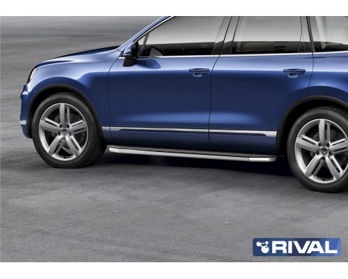 """Пороги алюминиевые Rival """"Premium"""" для Volkswagen Touareg R-Line 2015-2018"""