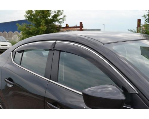 Дефлекторы окон Cobra-Tuning с хром. молдингом для Ford Mondeo седан 2007-2014